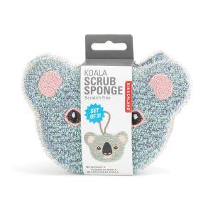 Kikkerland Koala Sponges (Set of 3) Grey 9x13x1cm
