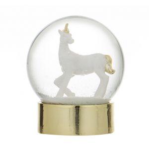 Emporium Unicorn Snow Globe Gold/White 10x10x11.5cm