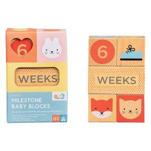 Petit Collage Wooden Baby Milestone blocks Multi-Coloured 15.9x10.8x5.7cm