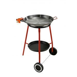 Garcima Andreu Paella Gas Burner Set 2pce Silver/Red Pan 56x46x6cm/Set 40x67x81cm