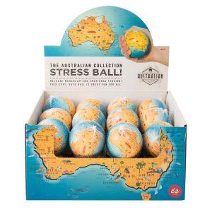 The Australian Collection Stress Ball - Map (24Disp) Multi-Coloured 7.1cm dia