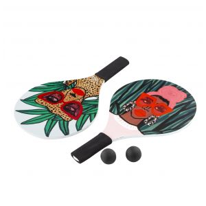 Bouffants & Broken Hearts Jungle Rumble Beach Paddles w/ Two Balls in Bag Multi 38x24x0.8cm