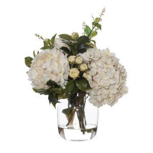 Rogue Rose Bud Garden Mix-Monica Vase Cream/Glass 39x33x43cm