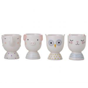 Emporium Animal Friends Egg Cups 4 Asst Designs 4 Elephant/4 Pig/4 Owl/4 Cat 6x6x7.5cm