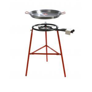 Garcima Tarbarca Paella Gas Burner Set 2pce Silver/Red Pan 60x50x7cm/Set 48x78x84cm