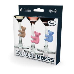 Fred Social Climbers - Koala Wine Markers (set of 6) Assorted 1.7x3.7x3.8cm