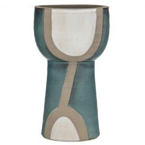Amalfi Loden Vessel Matte Green/White/Stone 17.5x17.5x29.5cm