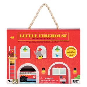 Petit Collage Firehouse Wind Up and Go Playset Red