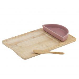 Davis & Waddell Amora Bowl & Spreader on Bamboo Board Set/3 Natural/Pink Tray 32x20x1cm/Bowl 16.5x8x3cm/Spreader 14.5cm