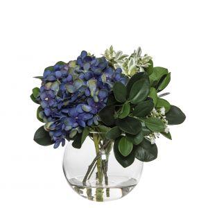 Rogue Hydrangea Bundle-Sphere Vase Dark Blue/Glass 26x26x26cm