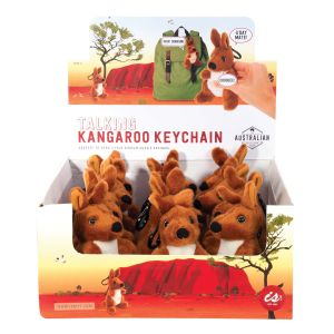 The Australian Collection Talking Kangaroo Keychain  Brown 3 prerecorded Aussie sayings