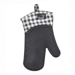 Zeal Gingham Steam Stop Silicone Oven Glove Charcoal 28x18x2cm