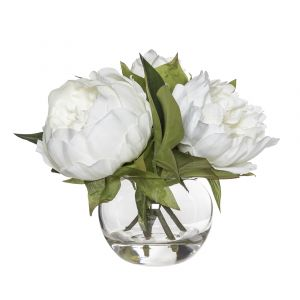 Rogue Peony-Sphere Vase White/Glass 25x25x18cm