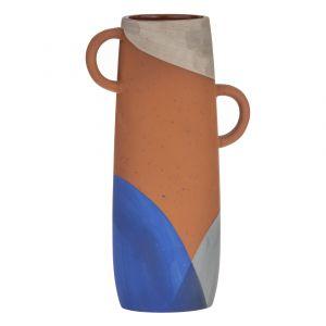 Emporium Zulta Vase Terracotta/Grey/Blue 16.5x9.5x26cm