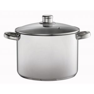 Davis & Waddell Stock Pot with Glass Lid Stainless Steel/Clear 24x25x33cm/D24cm/7.5L