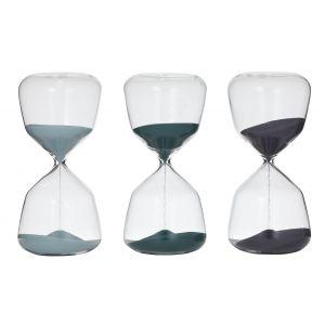 Amalfi Faye Hourglass 10 Minutes 3 Asst Colours 4 Blue/4 Teal/4 Navy 8.5x8.5x18cm