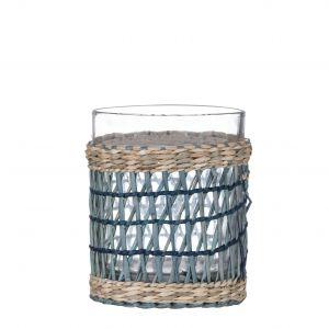 Amalfi Rheta Glass Tumbler with Woven Sleeve Blue/Natural/Clear D9x10cm/270ml
