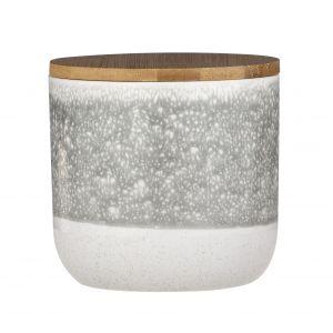 Leaf & Bean Capri Reactive Glaze Canister Grey/White/Natural 11.5x11.5x11cm