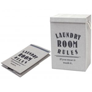Emporium Laundry Room Rules Hamper (KD) Light Grey 40x60cm