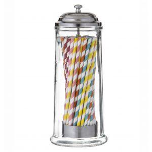 Davis & Waddell Glass Straw Dispenser with 60 Paper Straws Clear/Stainless Steel 10.5x10.5x27cm