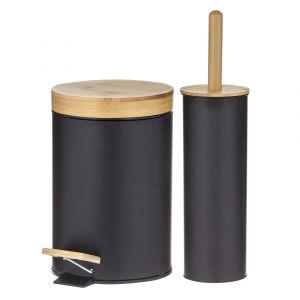 Davis & Waddell Newson Step Can & Toilet Brush Set 2pce Black/Natural Can 16.8x16.8x25.8cm/3L/Brush 10.3x10.3x38.4cm