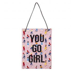 Emporium Go Girl Wall Plaque Pink/Multi 19.5x0.5x14.5cm