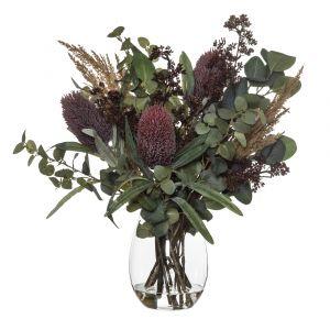 Rogue Banksia Pampas Mix-Claire Vase Red/Glass 48x40x55cm