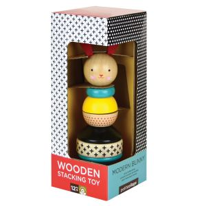 Petit Collage Modern Bunny Wooden Stacking Toy Natural