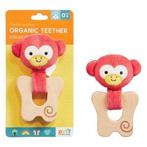 Petit Collage Organic Teether Monkey Pink 4.5x10.5x19.4cm