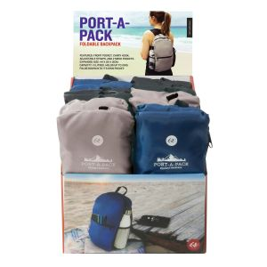 IS GIFT Port-A-Pack -Foldable Backpack  assorted Black, Navy & Grey