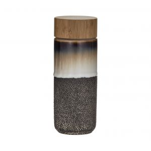 Leaf & Bean Roma Double Wall Flask with Bamboo Lid 6.5x6.5x18.5cm/340ml Mocca