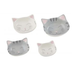 Emporium Cat Measuring Cup Set 4pce White/Grey 1/4 Cup/1/3 Cup/1/2 Cup/1 Cup
