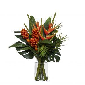 Rogue Tropical Heliconia Mix-Pail Vase Orange/Glass 50x56x74cm