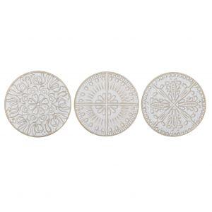 Amalfi Mette Coasters 3 Asst Designs Antique White 10x10x1cm