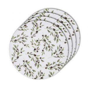 Davis & Waddell Sicily Olive Round Placemat Set/4 Green/Multi 35x35x0.3cm