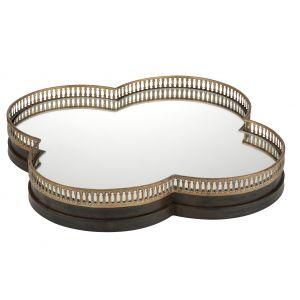 Amalfi Clover Mirror/Tray Antique Gold 50cm