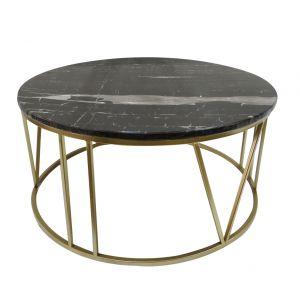 Amalfi Shelby Marble Coffee Table Gold/Black 70x70x35cm