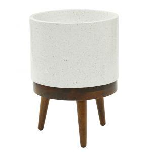 Amalfi Heal Planter Pot on Stand (KD) Speckle White/Walnut 36x36x50cm