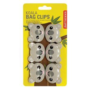 Kikkerland Koala Bag Clips – set of 6  Grey