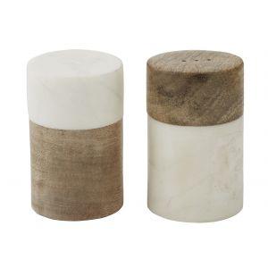 Academy Eliot Salt & Pepper Shaker Set/2 White/Natural 4.5x4.5x7.5cm