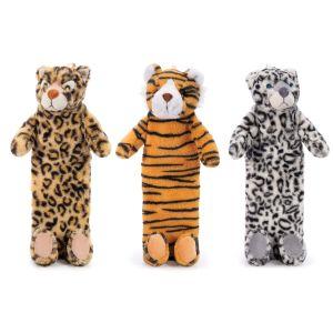 IS GIFT Plush Hot Water Bottle -Wild Animals   assorted Leopard, Snow Leopard & Tiger