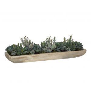 Rogue Succulent Garden-Honed Linear Bowl Green/Natural 96x23x28cm