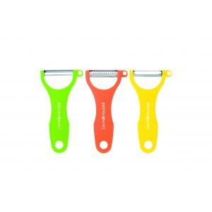 Davis & Waddell Peeler Standard/Julienne/Serrated Set 3pce Green/Orange/Yellow 13.5x7x3cm