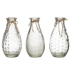 Emporium Sable Bottle Vase Set/3 Clear 5x5x14cm