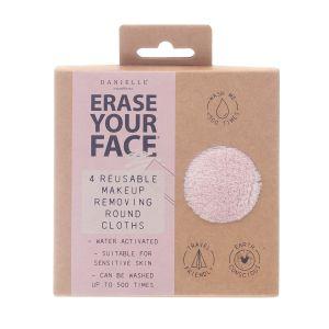 Erase Your Face Makeup Removing Pads Pastel Set of 4  assorted Pastel Pink, Blue, Mocha & Mint