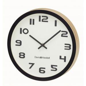 Davis & Waddell Logan Wall Clock Cream/Black/Natural 25.5x25.5x4cm