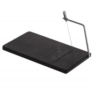 Davis & Waddell Fine Foods Cheese Slicing Board with Spare Wire Black/Stainless Steel 28x16.5x1.5cm
