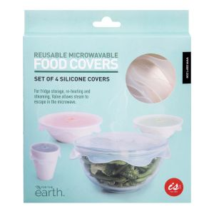 IS GIFT Reusable Microwavable Food Covers - Set of 4  Clear