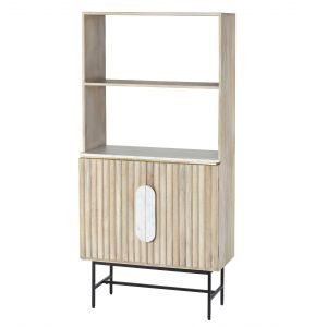 Amalfi Tessori Shelving Unit Natural/White/Brass 77x38x160cm