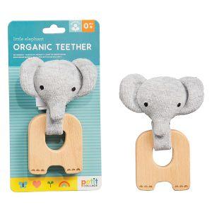 Petit Collage Organic Teether Elephant Blue 4.5x10.9x19.3cm